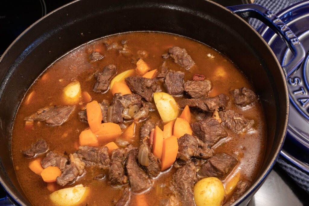 Dutch Oven Beef Stew with Carrots and Potatoes