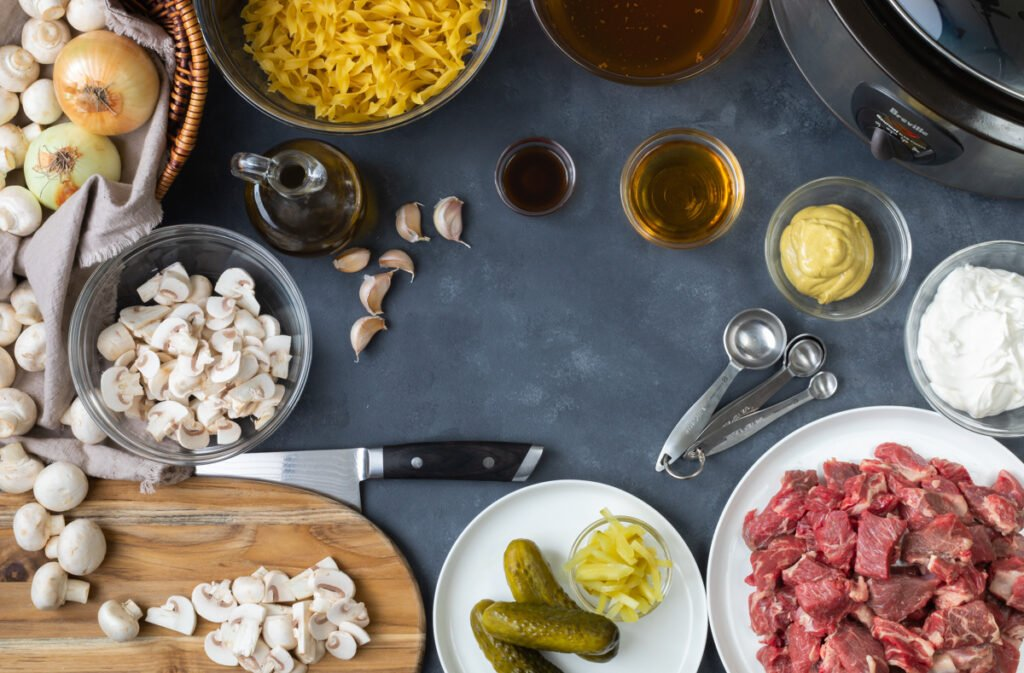 Slow Cooker Beef Stroganoff Ingredients